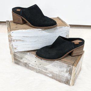 TOMS Black Heeled Leather Slip-On Booties